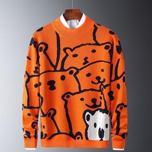 Hombres otoño casual suéteres oso polar modelo de moda Slim suéteres algodón manga larga cuello redondo cálido jerseys naranja 201211