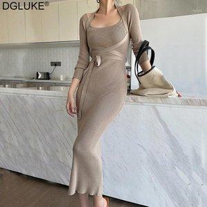 Dgluke Femmes Bandage Robe à manches longues à manches longues Sexy Slim Bormon Halter Tricoté Tricoté Automne Hiver Robe de soirée élégante Black1