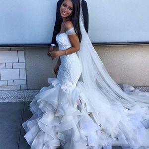 2021 Designer Schatz Meerjungfrau Mantel Organza Neck Ball Kleid aus Schulter Brautkleider Organza Brautkleider Vestido de Novia
