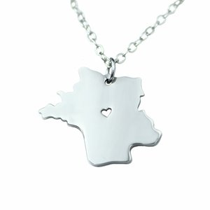 European and American popular, French map necklace pendant stainless steel new jewelry