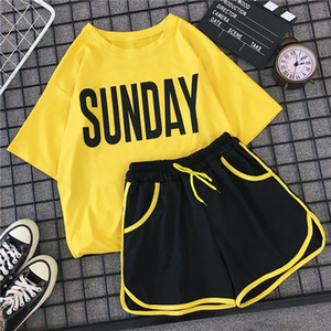 2 Piece Set Women Letter t shirt and Shorts Sets Casual Summer Costumes Striped Pockets Short Pant Suit Jogger Workout Outfit