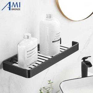 Black / Silver Space Aluminio Baño de aluminio Estanterías de un solo nivel Shampool Shelf Kitchen Bathroom Rack1