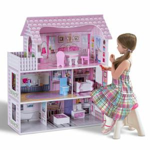 Girls Dream Wooden Prevent Play House Doll Dollhouse Mansion avec mobilier