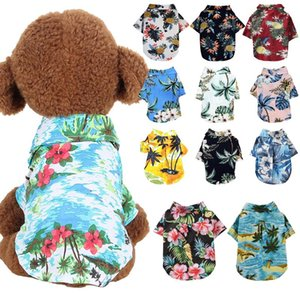 Dog Clothes Summer Beach Shirt Dog Cute Print Hawaii Beach Casual Pet Travel Shirt Pineapple Floral Short Sleeve Cat Blouse