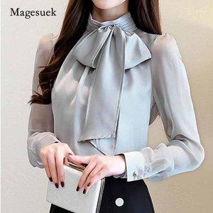 Рубашки женские блузки 2021 летняя мода с длинным рукавом галстук лук шифон водолазка формальная женская белая черная туника блузка 0599 301