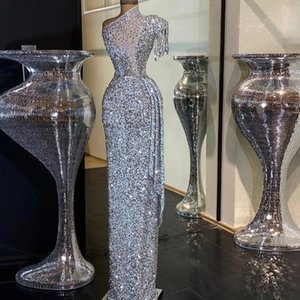 Silver Sparkly Sexy Evening Dress Beaded Crystals Prom Dress Sheath Sequined One Shoulder Robe De Soiree Party Wear