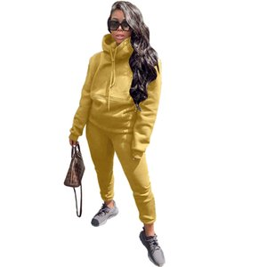 Hooded Solid Color Womens Tracksuits Loose Casual Slim Spring Autumn Long Sleeve Women Clothing 2 Pieces