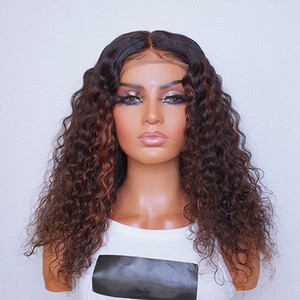 Water Wave Highlight Auburn 150 Density Full Lace Human Hair Wigs Curly 180 Density 13x6 Lace Front Wigs with Baby Hair