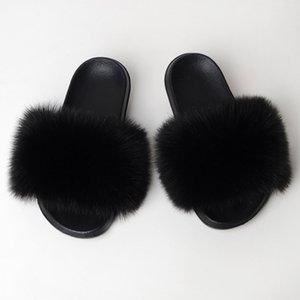 Coolsa Winter Искусственные скольжения поддельных мехов сплошные нескользящие крытые тапочки женщины шлепанцы падение доставки Y200706