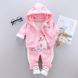 Autumn Winter Children Clothing Kids Girls Clothes Sets Baby Girl Cartoon Thick Fleece Hoodies+Vest+pants 3pcs sports Suits Warm