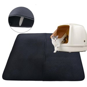 S-L Pet Pad Waterproof Cat Litter Mat Cat Litter Mat Double Layer Portable Lightable Pat Cushion Black Gray Easy Clean