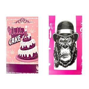 Bolsa de bodas de boda rosada de gorila blanco Bolso de galletas de plástico de plástico Mylar Bolso 3.5G Pastel de boda Pink Sello de calor Sello de cremallera SF JLLLAHY