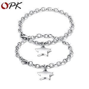 OPK Casal pulseira de aço inoxidável doce link pulseira estrela Cadeia Para Casal presente Saúde LoverJewelry