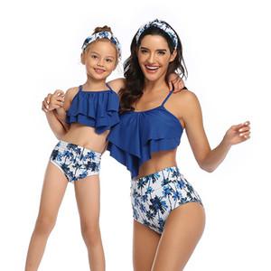 고품질 부모 - 자식 수영복 배꼽 슬리밍 비키니 조끼 스타일 높은 허리 메쉬 성인 어린이 수영복을 덮을 수있는 어깨 조끼