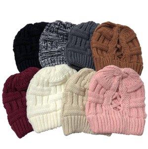 Ponytail Cross Cap Knitted Hat Headgear Women Winter Beanie Fashion Warm Wool Caps Girl Knitting Bonnet Beanies Back Opening Hats EWC4212
