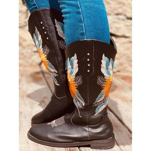 Woman Shoes Retro Sleeve Square Heel Embroidered Round leather boots lean leg rider boots British style thick soles rou