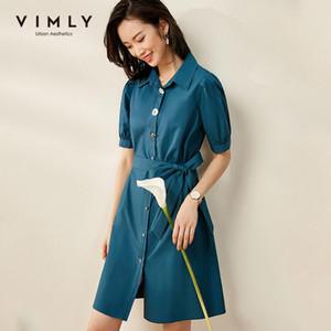 Vimly 2020 Summer Women revers Robes élégantes Office Lady Taille haute taille genou à poitrine-longueur Vintage robe f0761