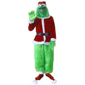 Grinch Costume for Men 7pcs Christmas Deluxe Furry Adult Santa Suit Green Outfit dult Green Christmas Monster Deluxe Costume