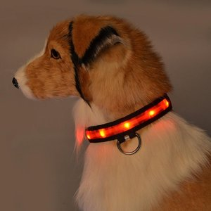 Nylon Dog Collar Lamp Dog Collar Luminous Golden Retriever Adjustable Personalized Dogs Harnesses Pet Supplies
