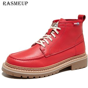 RASMEUP Genuine Leather Ankle Female Autumn Winter Shoes Woman Couple Motorcycle Women 'sAnkle Boots 201019
