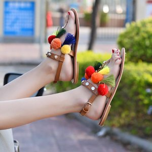 Flat Sandals Women Summer Shoes Flip Flops Buckle Strap Sandals Plush Ball Fringe Ladies Shoes Clip Toed Fashion Gladiator