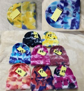 Designers Tie-dye Printed Adults Knitted Hats Beanie Fashion Casual Sports Cycling Beanie Caps Women Men Winter Warm Outdoor Hats D102202