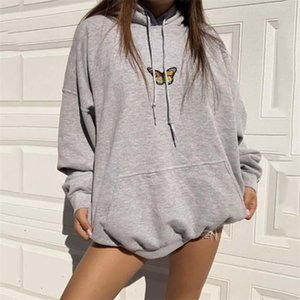 2020 Cross-border ins hot sweater sweet style butterfly printing long-sleeved casual sports sweater loose women's top new fashion Size S-XL