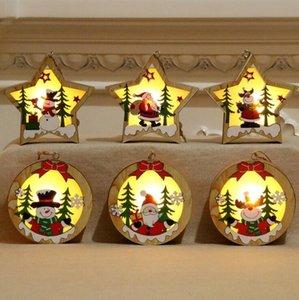 Ornamento de madeira do Natal Pentagrama luminoso de Santa Snowman cervos Pingente Feliz Natal Decoração de madeira com luz