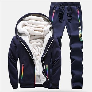 Erkek Eşofman Kış Erkekler Set Rahat Kalınlaşmak Polar Sıcak Kapüşonlu Ceket Pantolon Bahar Kazak Spor Mont Hoodie Track Suits