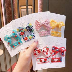 Children Bow-knot Hair Accessories Girls Hairpins Embroidery Flower Hair Clips Princess Barrettes Kids Headwear Set 2Pcs Set
