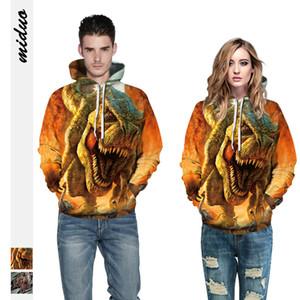 OKKDEY 20203-d Dinosaur Digital Print Hoodies assortis Casual Uniformes de baseball amples vêtements pour hommes