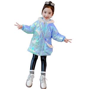 KEAIYOUHUO Девушки Зимнее пальто 2020 Новая девушка Толстые Padded Jacket Яркая кожа младенца хлопка малышей куртки Детская одежда Cute Hat 0930