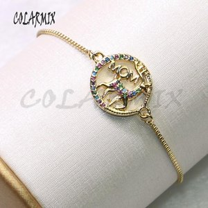 12Pcs High quality Round shape charms bracelet colorful zircon charms jewelry Bracelet fashion jewelry gift for lady 9242