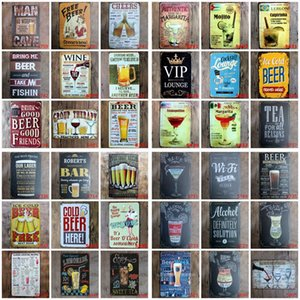 Metal Tin Signs Bar Poster Mojito Cocktail Beer Plaque Bar Art Sticker Iron Paintings Decorative Iron Plates Bar Club Wall Decor OWD1271