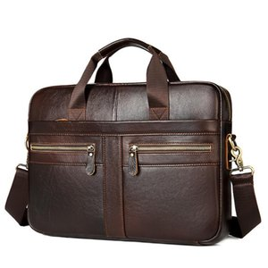 Leather Briefcase Messenger Genuine Bags Briefcase Men Man Computer Laptop Luxury Cow Leather Bag Business Men's Briefcases Oenpd