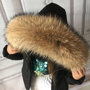 100% Real Fur Collar For Parkas Coats luxury Warm Natural Raccoon Scarf Women Large Fur Scarves Male Down jacket fur hat 75 70cm 201026