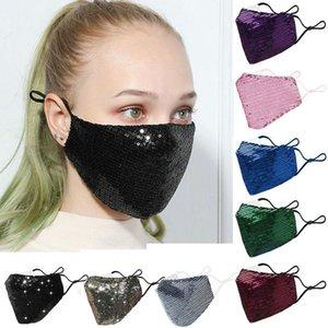 Stati Uniti Stock, Bling 3D riutilizzabile in bicicletta mascherina mascherine di copertura Bocca PM2.5 Viso Shield Sun Colore Oro Elbow paillettes luccicanti Viso Anti-polvere FY9048