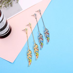 Enamel inlaid with diamond feather long earrings ear stud for women European and American style holiday