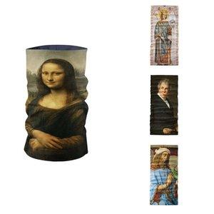 New Scarf Printed Ring 3D Louvre Gogh Oil Mona Art Headscarf Magic Lisa Bandana Neck Gaiter Mask Sports Tubular Painting Nobpl