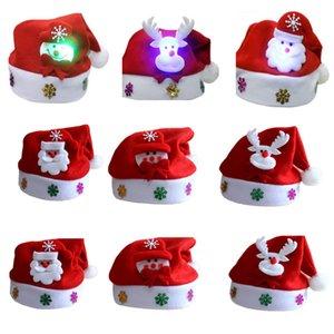 Christmas Hat LED leuchtet Hut Sankt Schneemann Elk Cap Weihnachtsgeschenke für Kinder und Erwachsene Weihnachtsfest-Dekorationen Geschirr Halter HH7-227