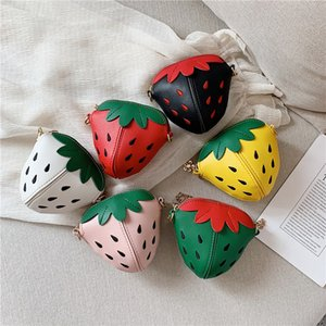 PU Leather Girls Coin Purse Lovely Children Strawberry Rivet Crossbody Bags Cute Baby Accessories Mini Wallet Kids Gifts