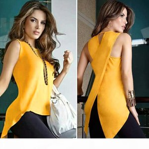 Women's Blouse Shirt Cross Irregular Womens Tops and Blouses Female Backless Sleeveless Feminine fashion woman blouses