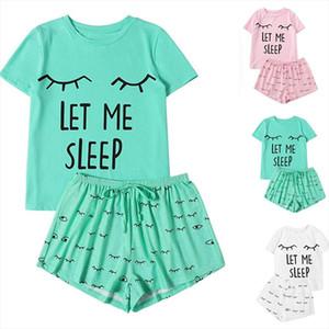 Womens Smile Printed Pajamas Set Cotton Girls Casual Shorts Short Sleeve Ruffled T Shirt Sleepwear Nightwear Set pyjama G15