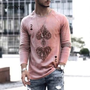 2021 Spring Autumn Men's Sweatshirt Fashion Casual Long Sleeve V-neck Tops Male Pullovers Poker Card Print Shirts Streetwear 3xl
