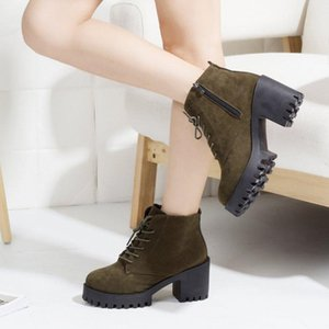 Casual Autumn women high heels dress ankle Martin boots women Flock Round Toe lace-up Winter snow boots shoes woman mujer