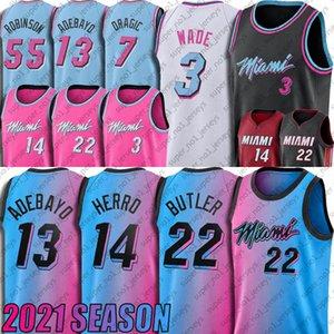 Jimmy Tyler Butler Herro Jersey Dwyane Dwayne Wade Jerseys Goran Bam Dragic Adebayo Basketbol Jersey Kendrick Robinson Nunn Formalar