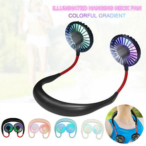 Foldable Neckband Mini USB Cooling LED Neck Fan for Camping Sport Tourism Best Gift Kids Summer Cooler Novelty Items CCA11785 10pcs