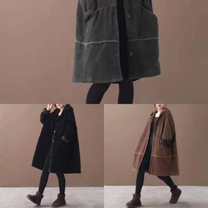 VJ7n0 winter Wick Sfe7O Cotton-padded clothes 2019 autumn and Large new mid-length corduroy cotton-padded coat women's size clothes