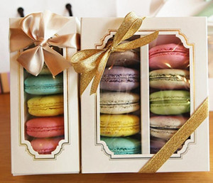 Macaron Packing Boxes Wedding Party 5 10 Pack Cake Storage Biscuit Clear Window Paper Box Cake Decoration Baking Ornaments FWF2937