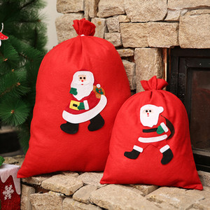 Red Christmas Gift Bags Large Candy Bag Xmas Sack Drawstring Bag Non-Woven Snowman Santa Claus Sack Bags For Kids Gift Pouch CFVT1155